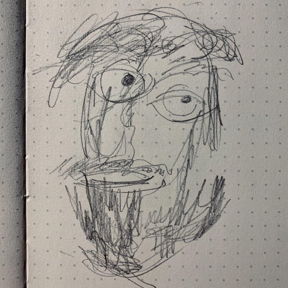 Self portrait, as blind contour drawing.